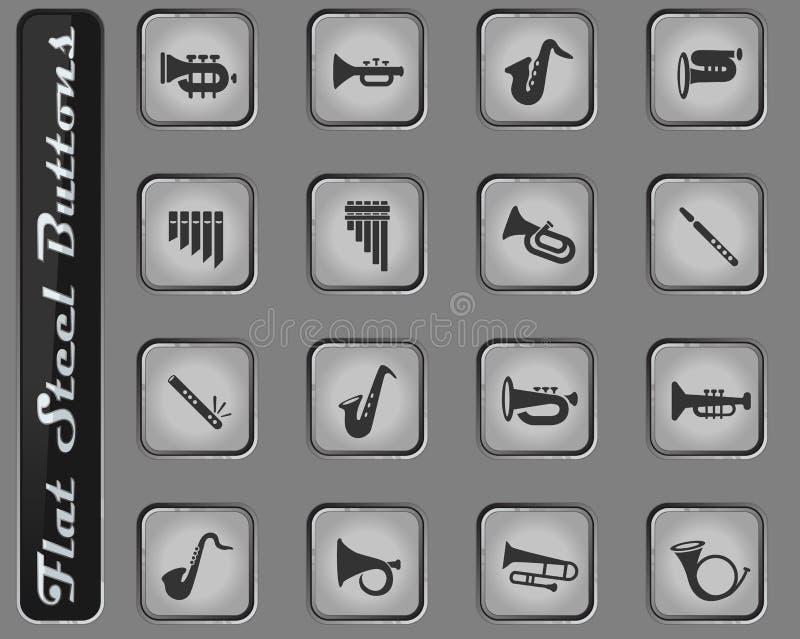Sistema del icono de los instrumentoes de viento stock de ilustración