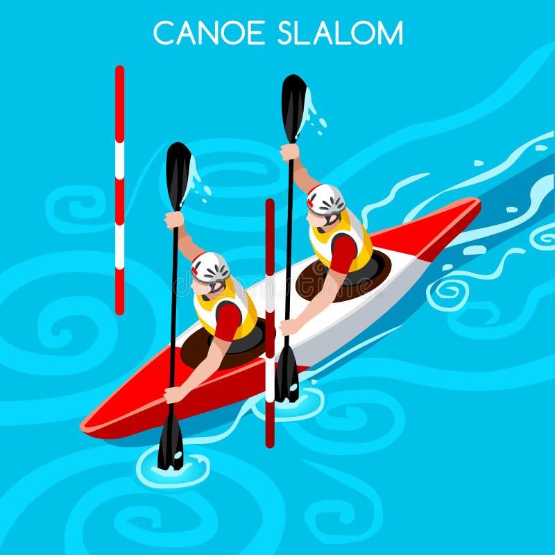 Sistema del icono de los juegos del verano de la canoa del doble del eslalom del kajak 3D isométrico stock de ilustración