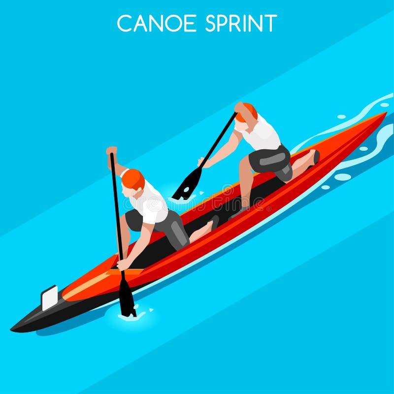 Sistema del icono de los juegos del verano del doble de Sprint de la canoa 3D isométrico stock de ilustración