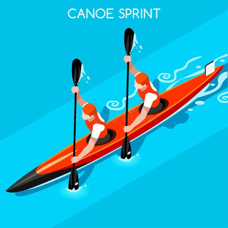 Sistema del icono de los juegos del verano del doble de Sprint del kajak Paddler isométrico del piragüista 3D libre illustration