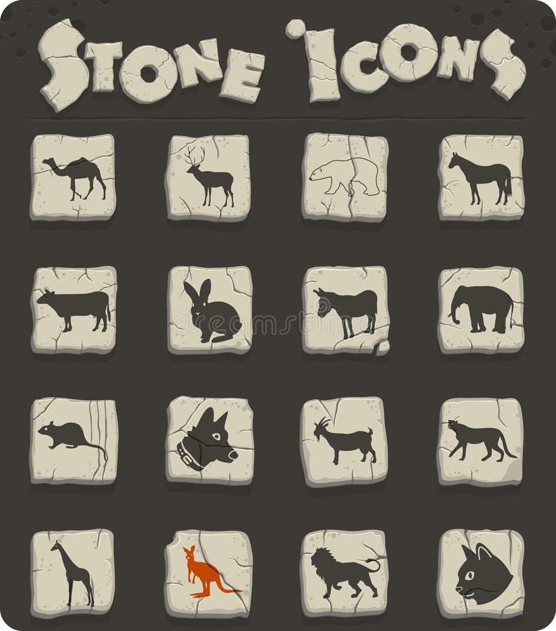 Sistema del icono de los mamíferos stock de ilustración