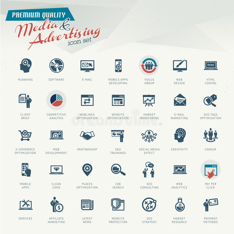 Sistema del icono de los medios y de la publicidad stock de ilustración