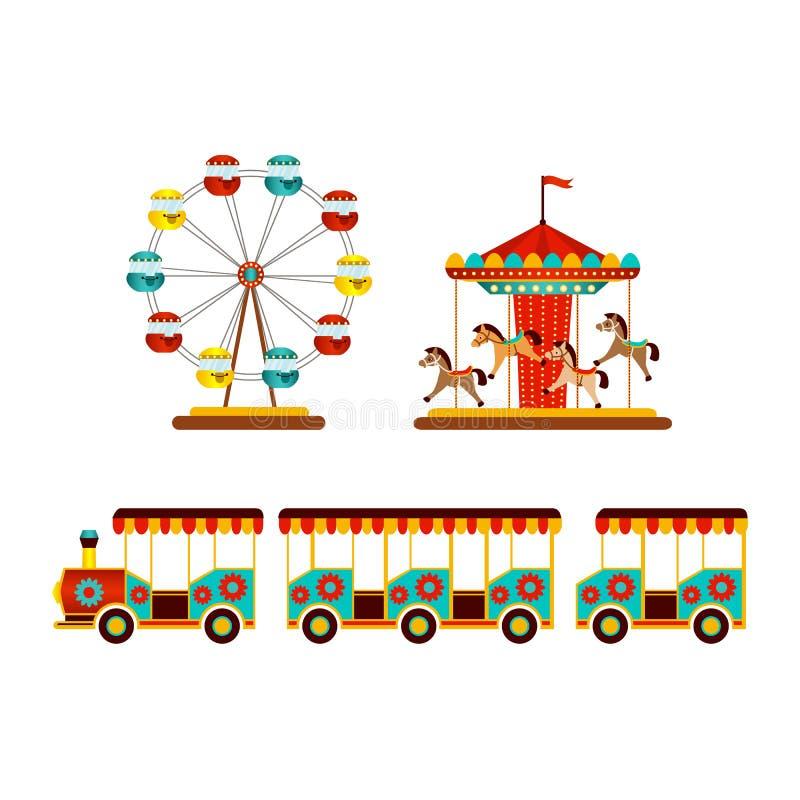 Sistema del icono de los objetos del parque de atracciones del vector libre illustration