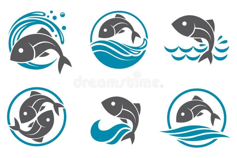 Sistema del icono de los pescados ilustración del vector