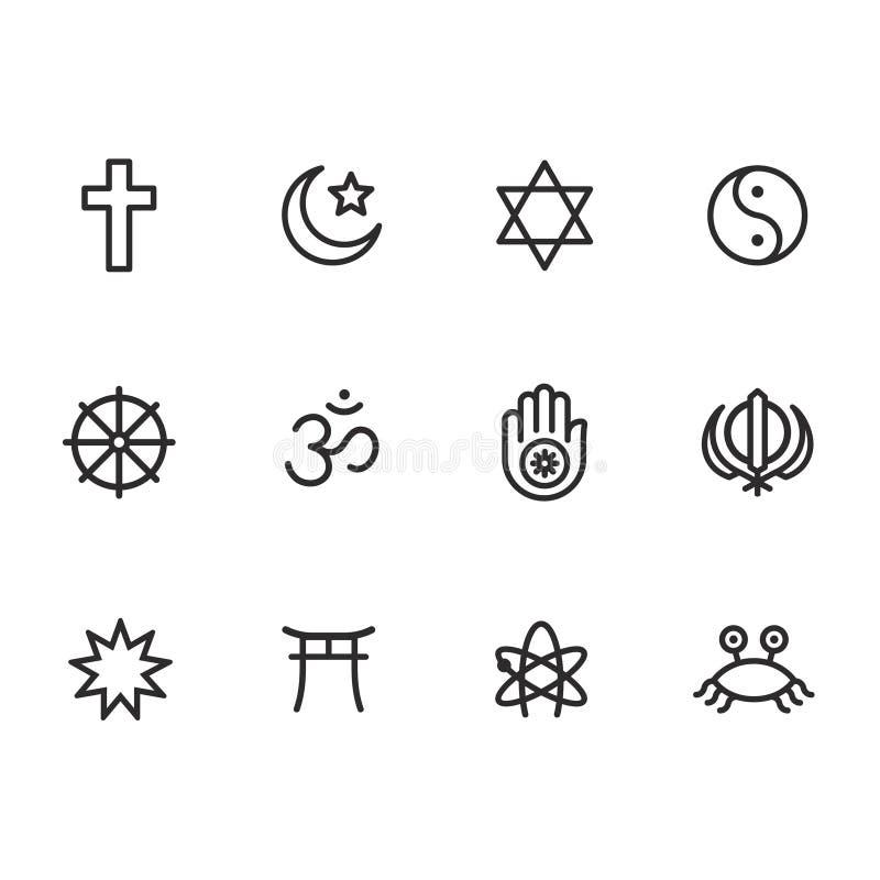 Sistema del icono de los símbolos de la religión ilustración del vector