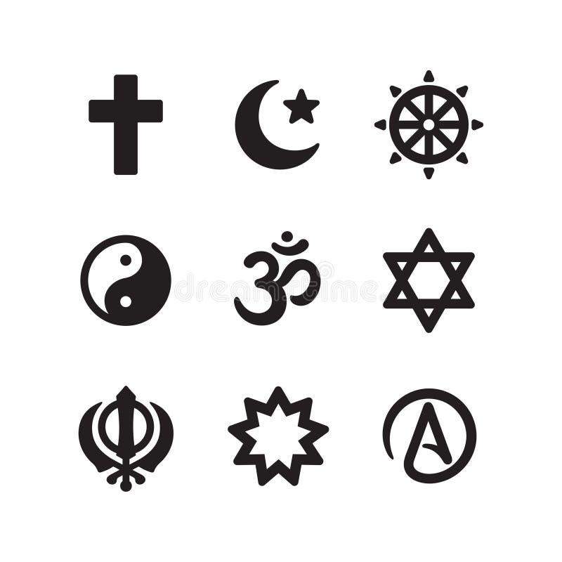 Sistema del icono de los s?mbolos de la religi?n stock de ilustración