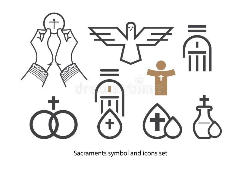 Sistema del icono de los sacramentos ilustración del vector