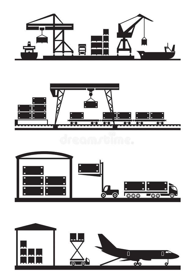 Sistema del icono de los terminales del cargo ilustración del vector