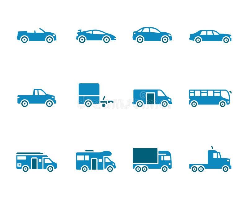 Sistema del icono de los vehículos stock de ilustración
