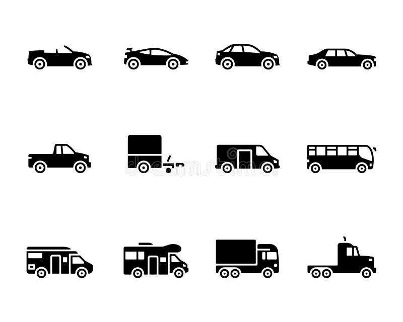 Sistema del icono de los vehículos ilustración del vector