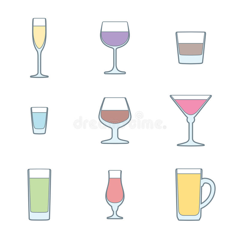 Sistema del icono de los vidrios del alcohol del esquema del color ilustración del vector