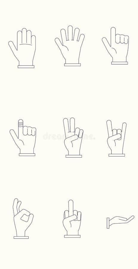 Sistema del icono de manos con las líneas oscuras y el fondo ligero fotografía de archivo libre de regalías