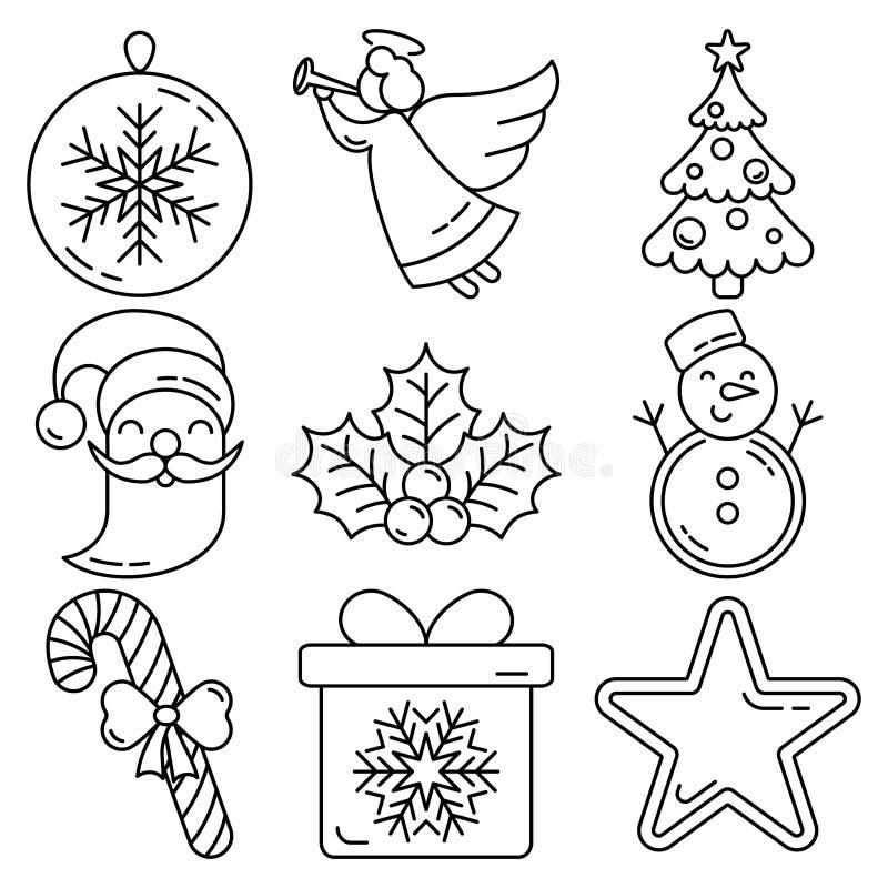 Sistema del icono de Navidad ilustración del vector