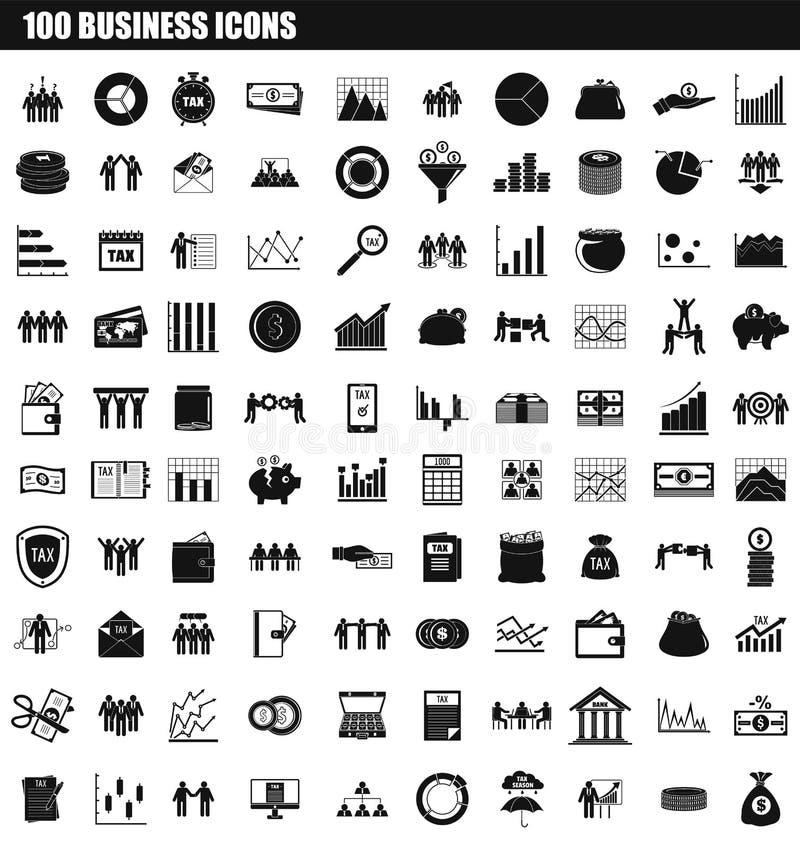 sistema del icono de 100 negocios, estilo simple stock de ilustración