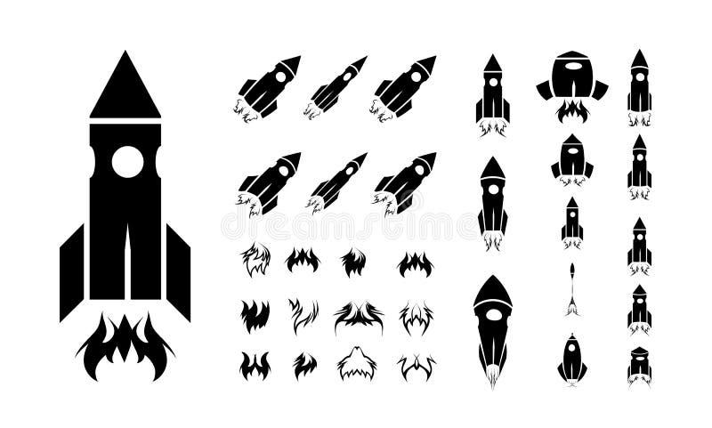 Sistema del icono de Rocket stock de ilustración