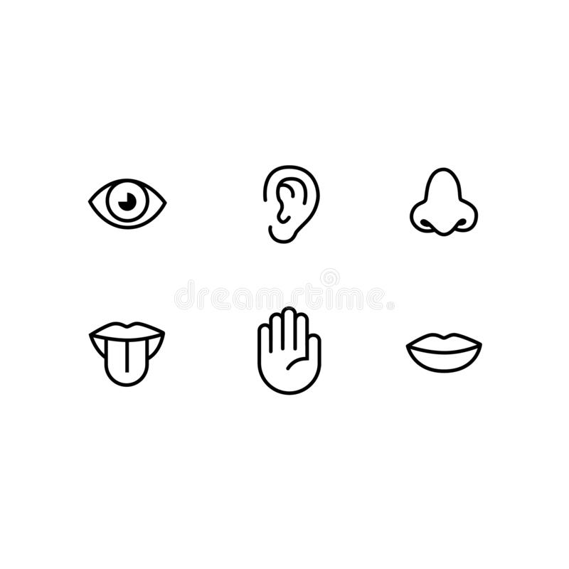 Sistema del icono de seis sentidos humanos stock de ilustración