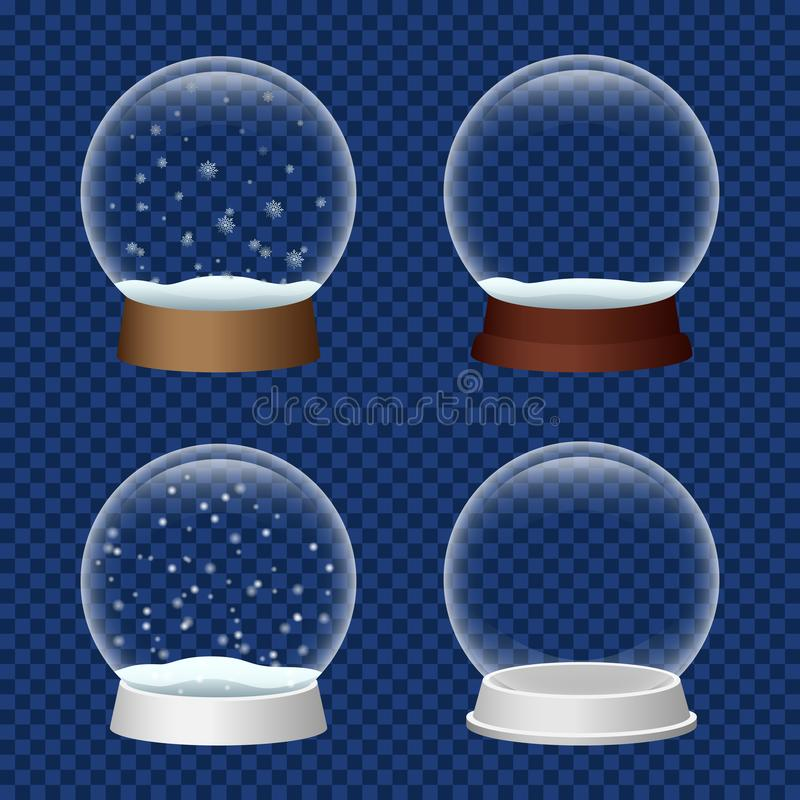 Sistema del icono de Snowglobe, estilo realista libre illustration