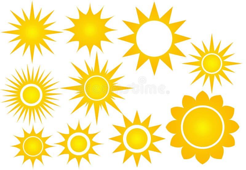 Sistema del icono de Sun ilustración del vector