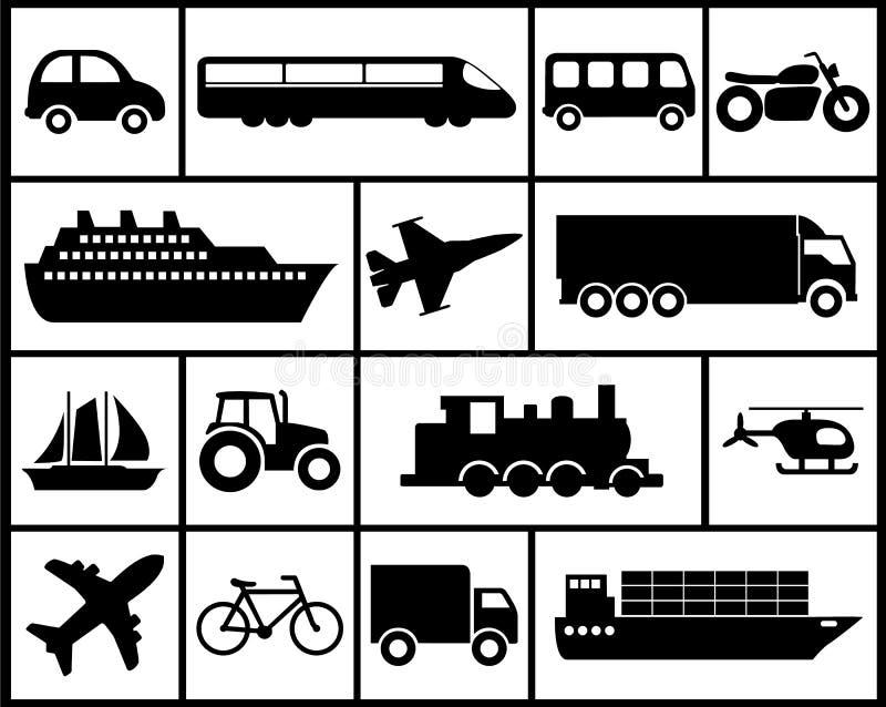 Sistema del icono de vehículos ilustración del vector