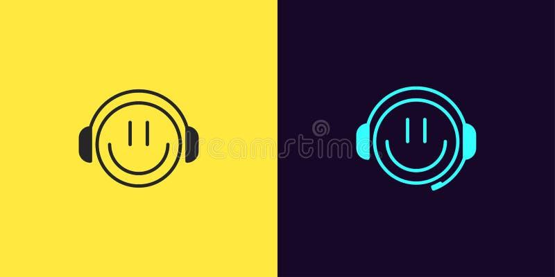 Sistema del icono de videojugador del emoji con sonrisa y los auriculares libre illustration