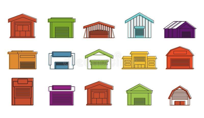 Sistema del icono de Warehouse, estilo del esquema del color libre illustration