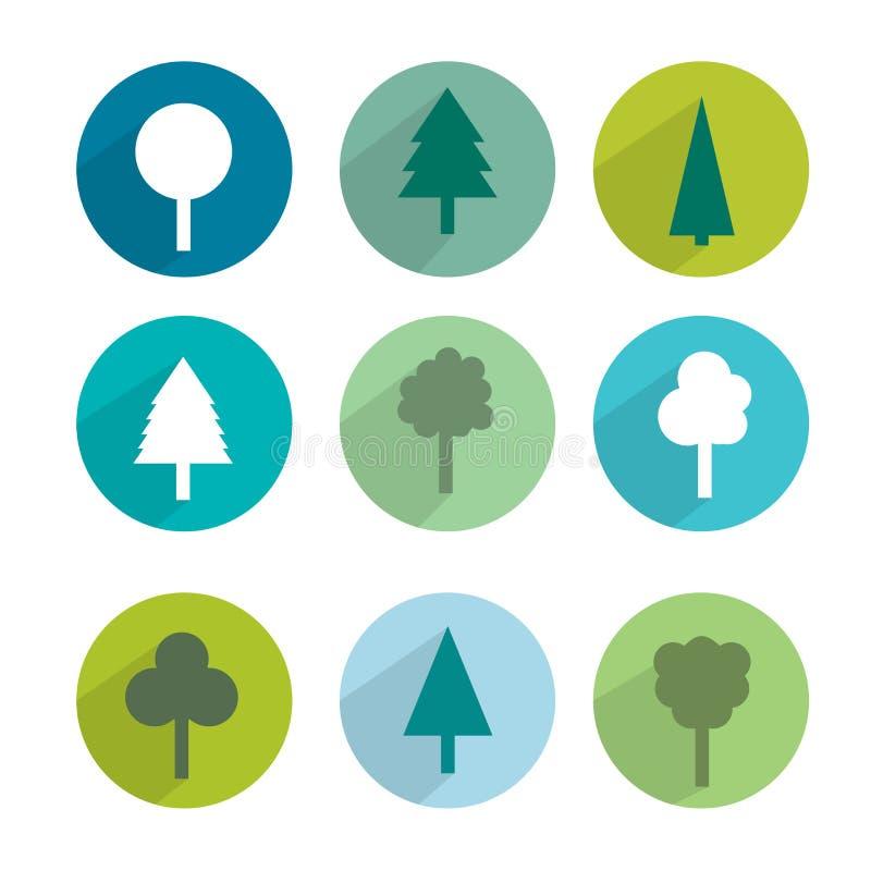 Sistema del icono del árbol libre illustration