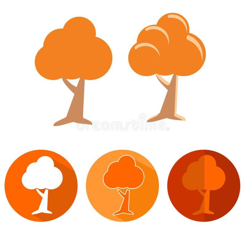 Sistema del icono del árbol anaranjado ilustración del vector