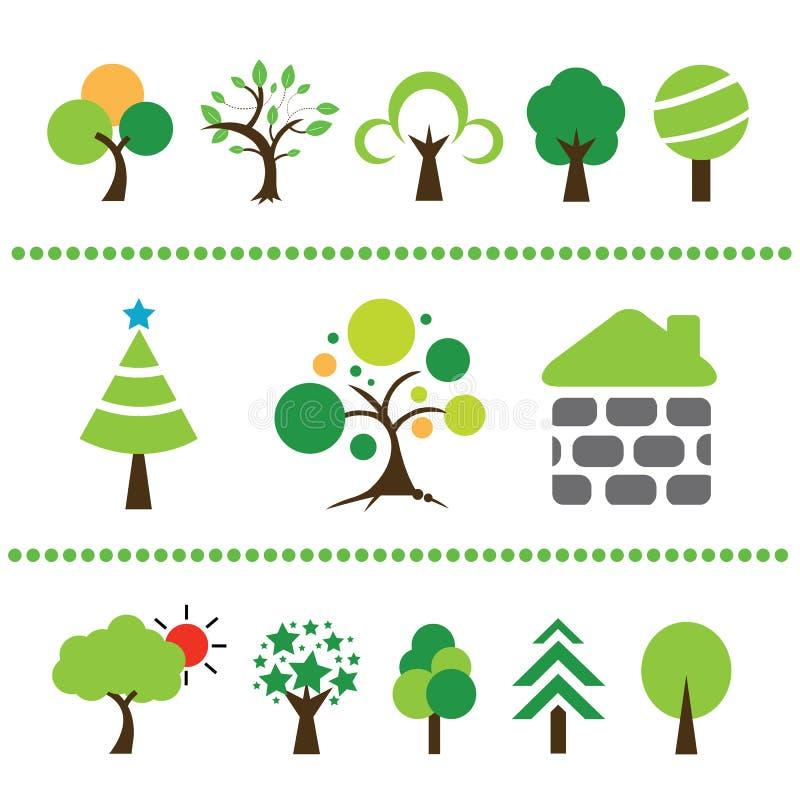 Sistema del icono del árbol del vector libre illustration