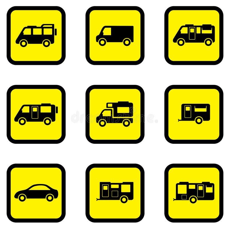 Sistema del icono del amarillo del coche del campista stock de ilustración