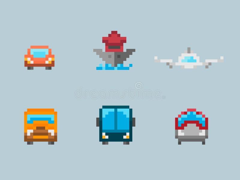 Sistema del icono del arte del pixel del transporte stock de ilustración