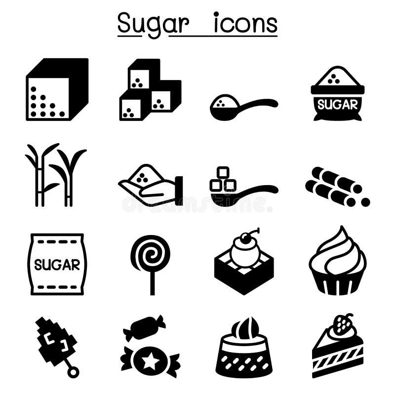 Sistema del icono del azúcar stock de ilustración