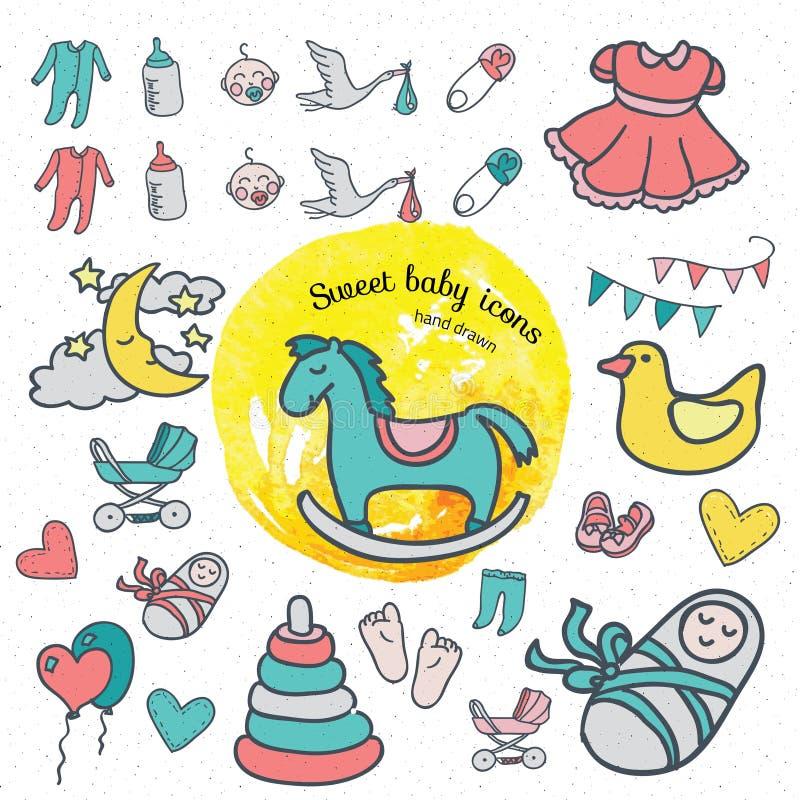 Sistema del icono del bebé, mano del ejemplo del vector dibujada en garabatos stock de ilustración