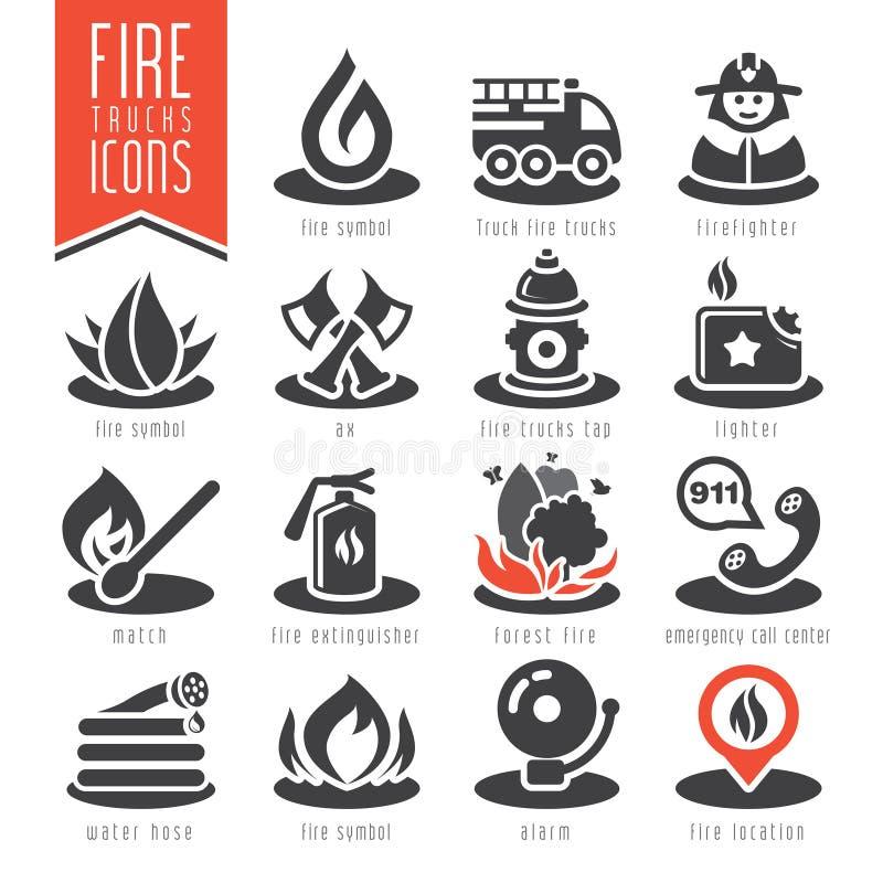 Sistema del icono del bombero ilustración del vector