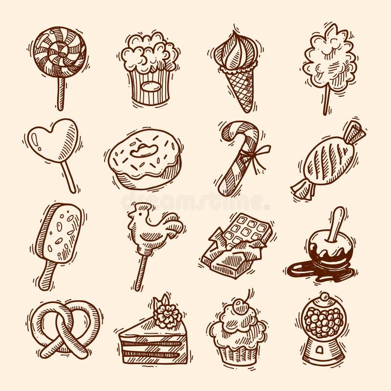 Sistema del icono del bosquejo de los dulces libre illustration