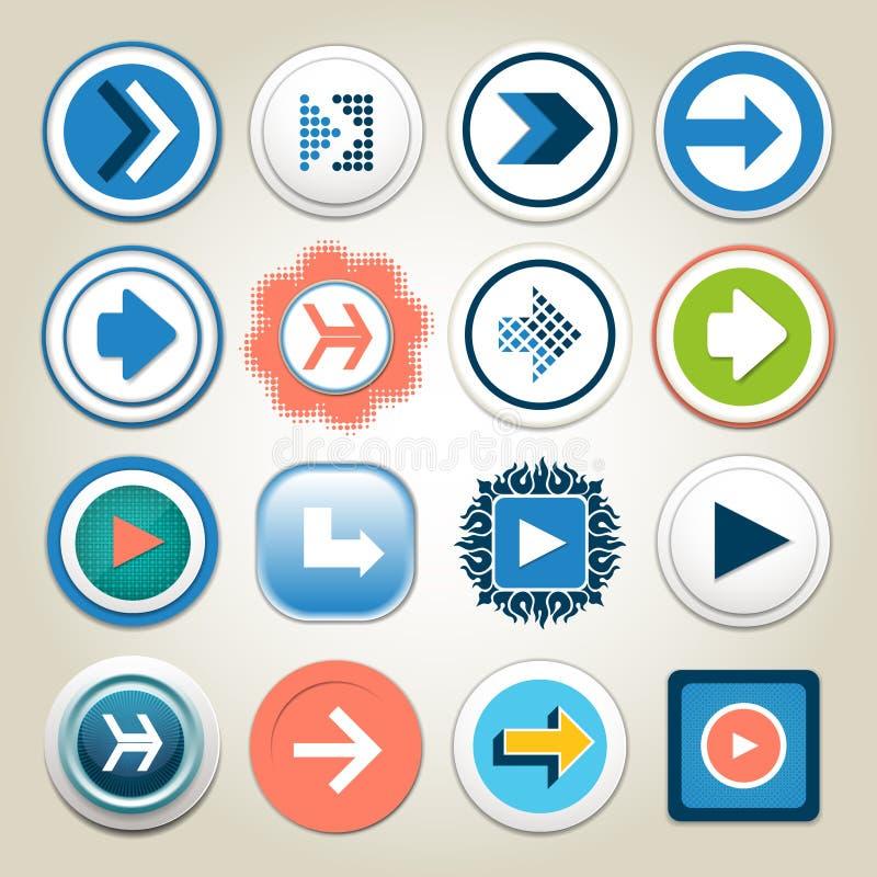 Sistema del icono del botón del vector 3d de la flecha La línea aislada símbolo del interfaz para el app, el web y el ejemplo dig ilustración del vector