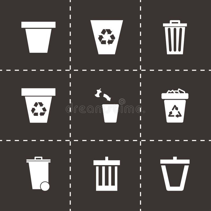 Sistema del icono del bote de basura del vector ilustración del vector
