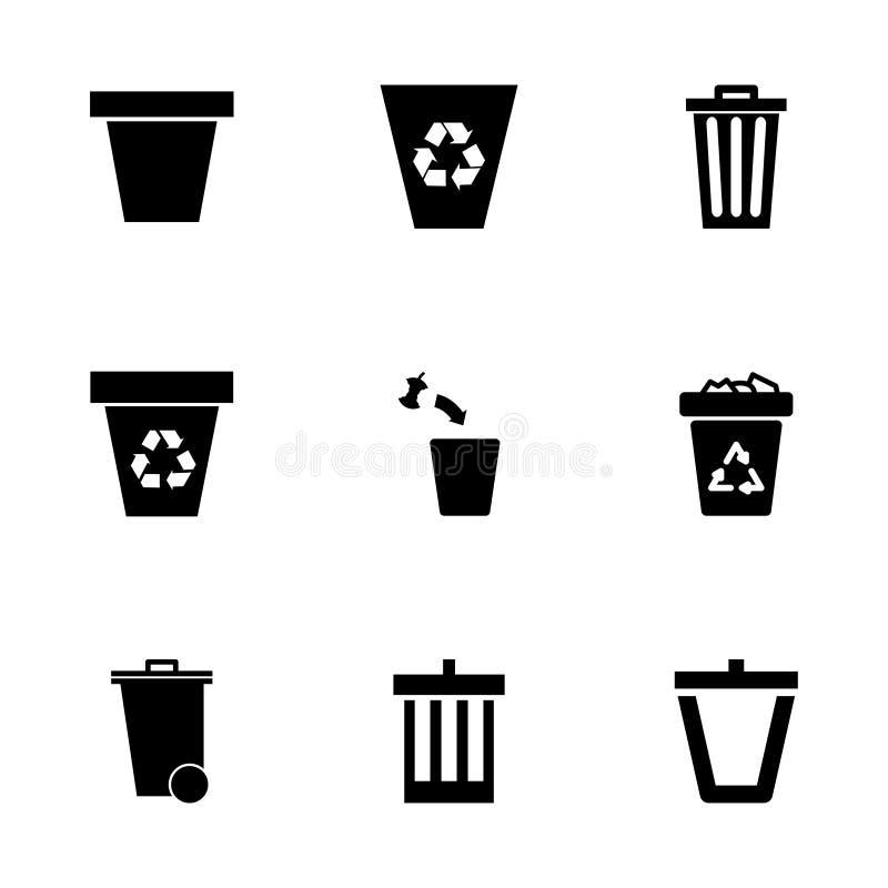 Sistema del icono del bote de basura del vector libre illustration