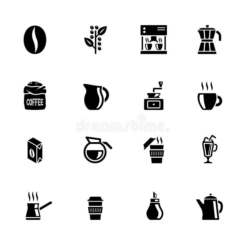 Sistema del icono del café aislado en blanco libre illustration