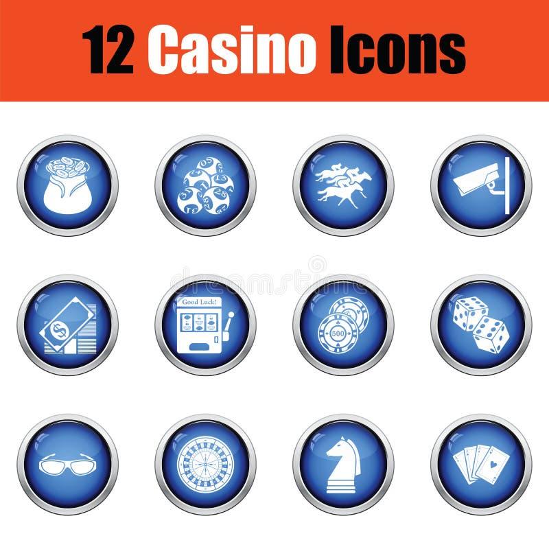 Sistema del icono del casino stock de ilustración