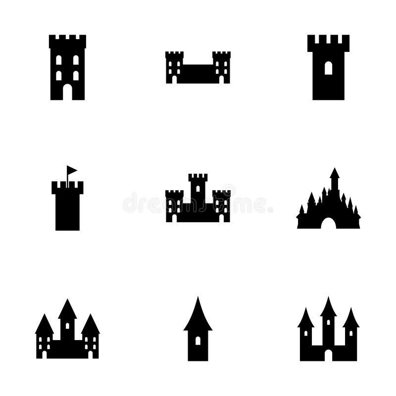 Sistema del icono del castillo del vector ilustración del vector