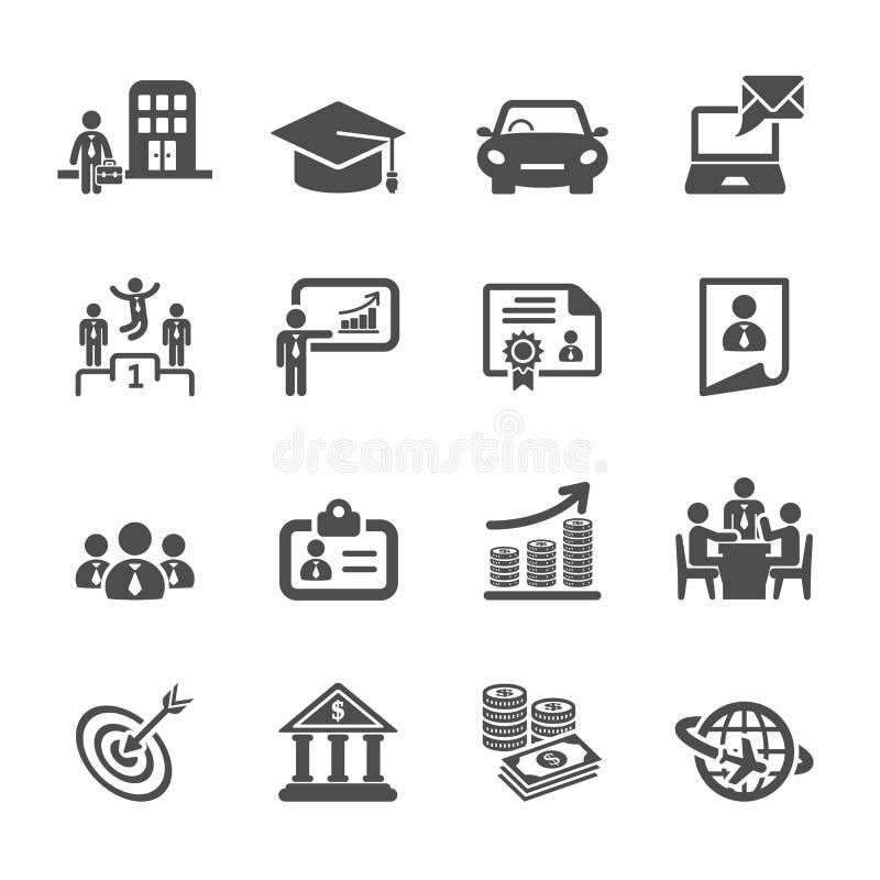 Sistema del icono del ciclo de vida de la carrera del negocio, vector eps10 stock de ilustración