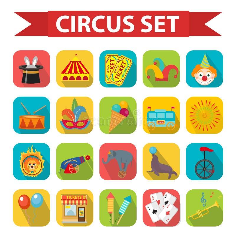 Sistema del icono del circo, plano, estilo de la historieta Fije en un fondo blanco con el elefante, león, otaria, arma, payaso stock de ilustración