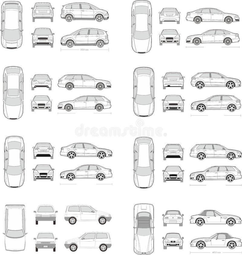 Sistema del icono del coche ilustración del vector