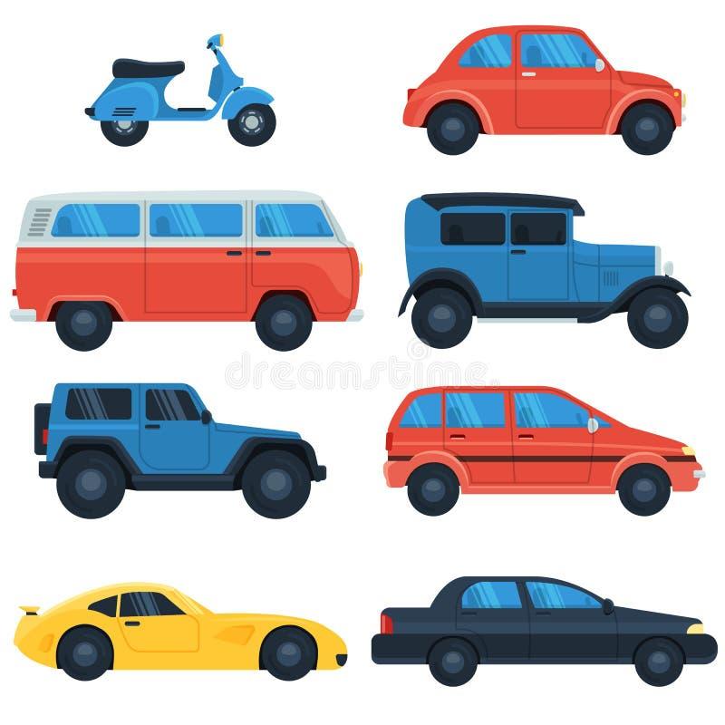 Sistema del icono del coche plano ilustración del vector