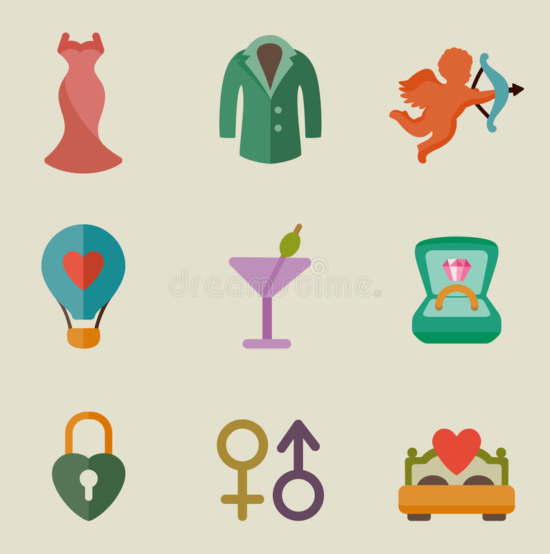 Sistema del icono del color de la boda libre illustration