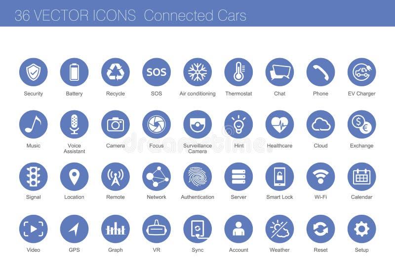 Sistema del icono del concepto conectado de los coches ilustración del vector
