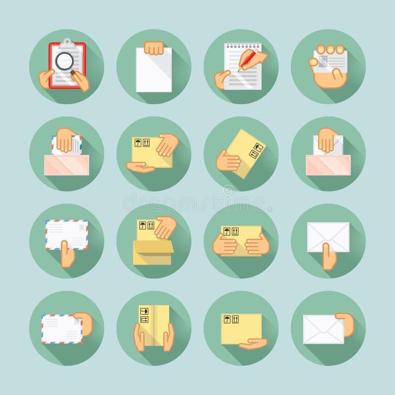 Sistema del icono del correo y de la entrega ilustración del vector