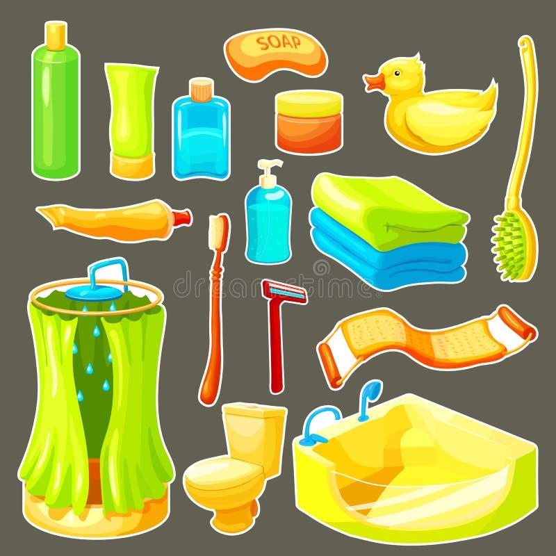 Sistema del icono del cuarto de baño de la historieta stock de ilustración