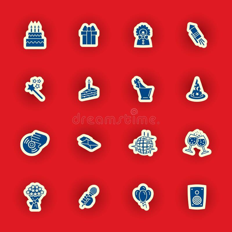 Sistema del icono del cumpleaños aislado en rojo stock de ilustración