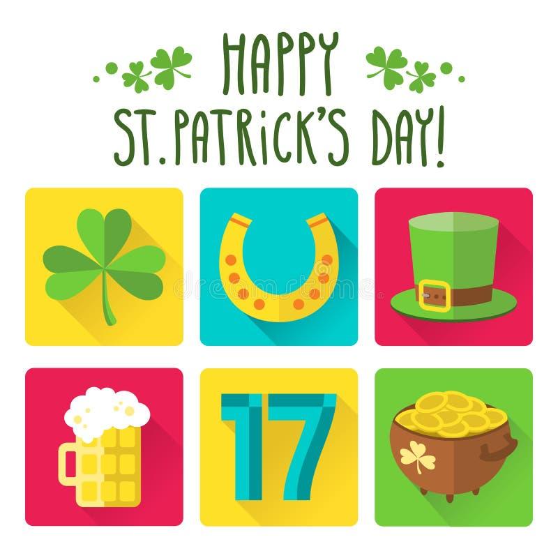 Sistema del icono del día de St Patrick en diseño plano stock de ilustración